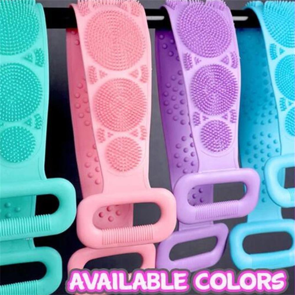 Extended Scrubber Smooth Skin Silicone Back Scrubber Bath Belt Massage Brush Dual Sided  Body Cleaning Tools