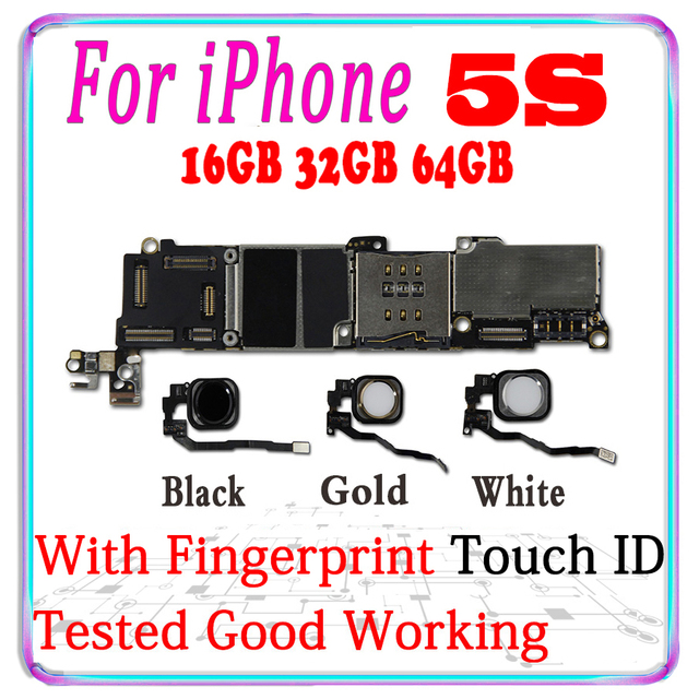 Spedizione gratuita originale sbloccato per iphone 5s scheda madre con touch ID per iphone 5s 5s scheda logica con chip sistema IOS