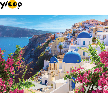цены Full Square/Round drill diamond Painting Santorini spring 5D DIY diamond embroidery mosaic Decoration painting BX0802