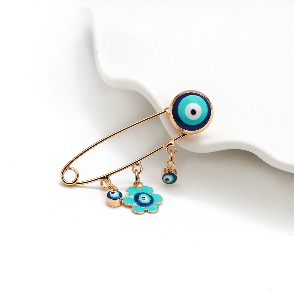 Lucky Eye Blue Turkish Evil Eye Brooch Pin for Women Men Dropping Oil Flower Crown Star Hamsa Hand Charm Fashion Jewelry BD52 3
