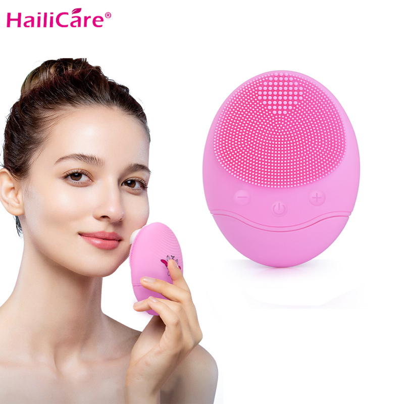Electric Silicone Facial Cleansing Brush Sonic Vibration Massage USB Rechargeable Smart Ultrasonic Face Cleaner Beauty Tool in Facial Cleansing Brushes from Beauty Health