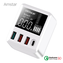 Amstar Quick Charge 3.0 30W USB Charger LED Display Mini USB Type C Charger For iPhone Samsung  Huawei Travel Wall Adapter