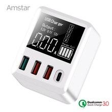 Amstar Quick Charge 3.0 30W USB Charger จอแสดงผล LED Mini USB Type C เครื่องชาร์จสำหรับ iPhone Samsung Huawei TRAVEL อะแดปเตอร์ผนัง