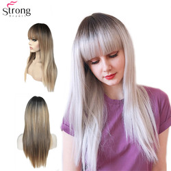 StrongBeauty Women's Synthetic Wigs Hair Matte Ombre Long Straight Neat Bang Style Natura Wig Blonde