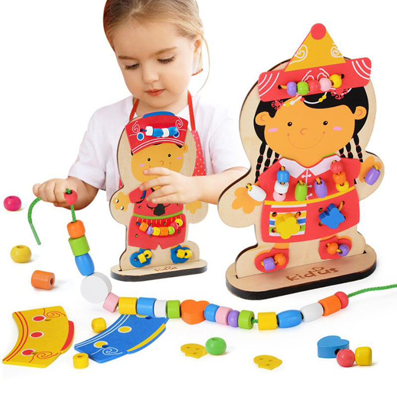 Handmade Beading Wooden Learning Education Beaded Dolls Pearl Montessori Children's Educational Toys Kids Gifts