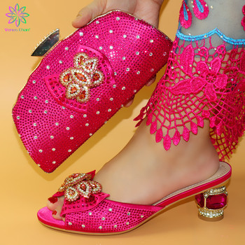 New fuchsia Italian Shoes With Matching Bags African Women Shoes and Bags Set For Prom Party Summer Sandal