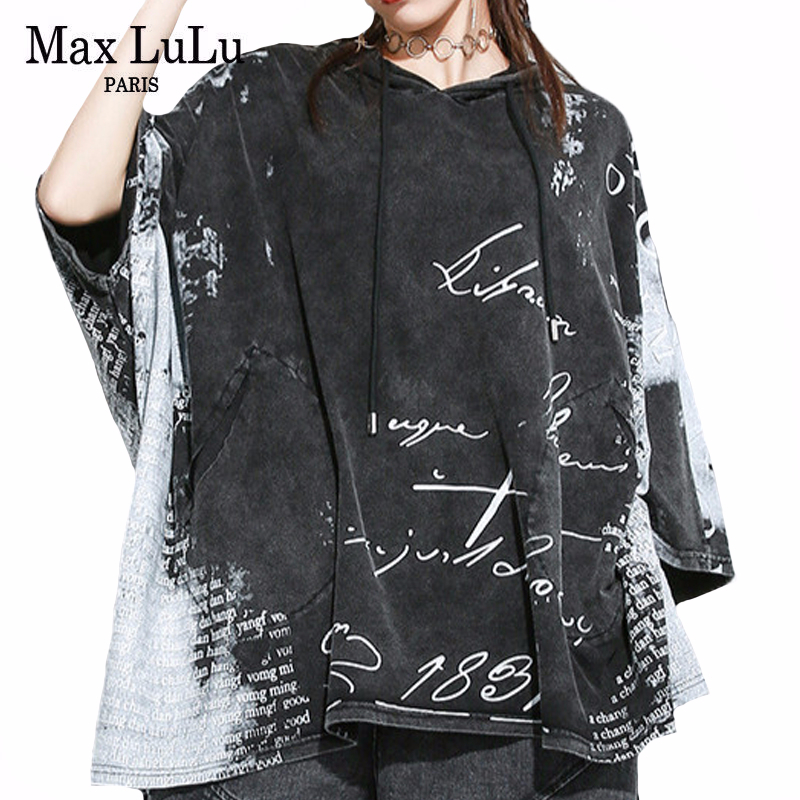Max LuLu 2020 European Designer Summer Ladies Vintage Streetwear Womens Hooded Printed Tshirts Punk Casual Oversized Tee Shirts