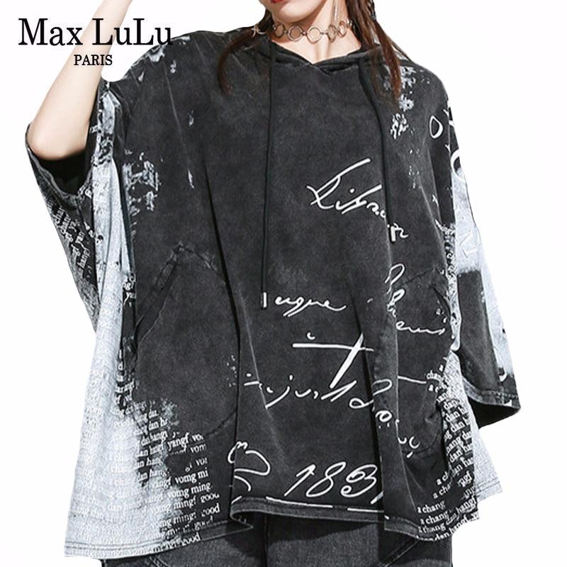 Max LuLu 2020 European Designer Summer Ladies Vintage Streetwear Womens Hooded Printed Tshirts Punk Casual Oversized Tee Shirts