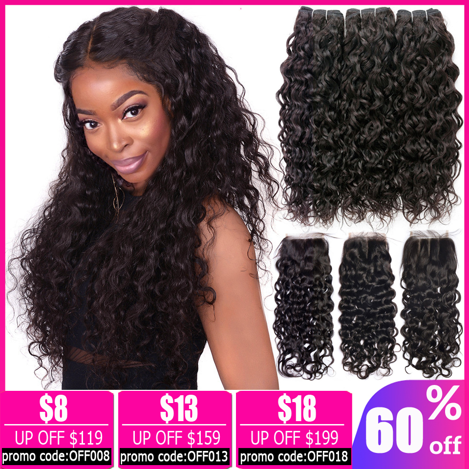 Malaysian Peruvian Water Wave Bundles With Closure Human Hair 2 3 Bundles With Closure Brazilian Hair Weave Bundles With Closure