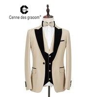 2020 Cenne Des Graoom New Men Suit Costume 3 Pieces Velvet Lapel Slim Fit Shawl Lapel Wedding Party Groom Tuxedo DG MT