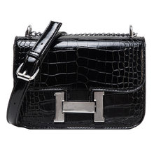 2021 New Fashion Women's Bag Alligator Pattern Small Square Bag H-button Single Shoulder Straddle Bag Ins Simple Bag