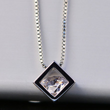 Fashion Square hollow Pendant Necklace for Women Temperament  Simple Inlaid Zircon Ladies Classic Wedding Jewelry