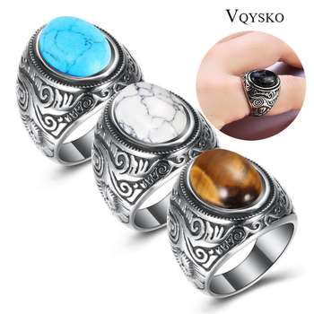 Wholesale Retro Jewelry Stone Rings For Men Titanium Steel Inlaid Three Colors Onyx Ring Men Domineering Opal Ring 1