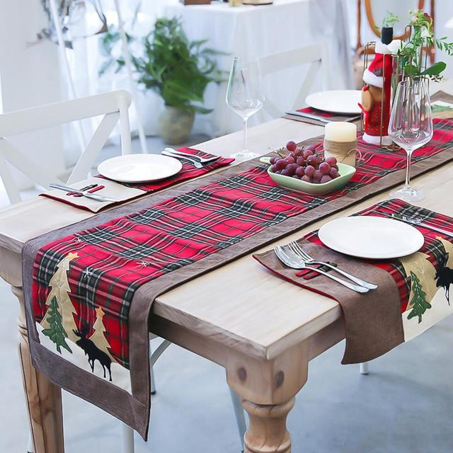 Burlap & Cotton Christmas Table Runner Red Black Plaid Tablecloth Home Party Dining Table Coffee Table Decoration Tablecloth 3