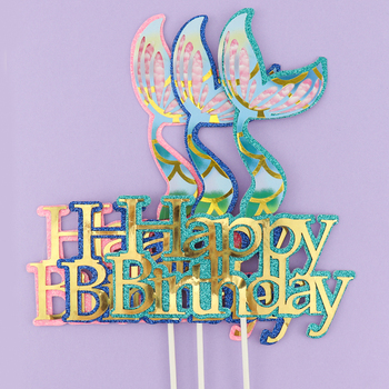 Cakesmile 1Pcs Laser pink green mermaid tail starfish water grass Seahorse Cake Topper for Party Decoration Dessert lovely Gifts шампунь grass pink