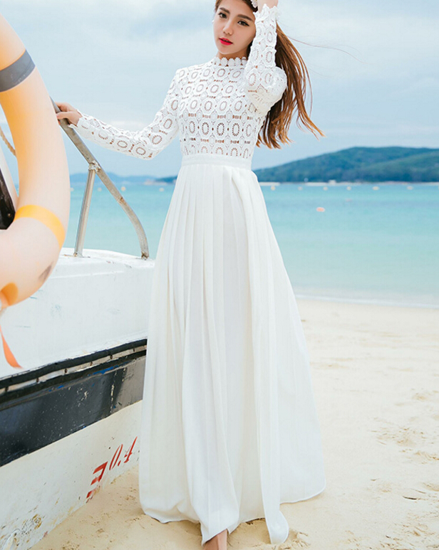 Free Shipping Spring Autumn Hot Sale Stand Collar Lace Hollow-out Long Sleeve Woman Chiffon Long Formal Dress White