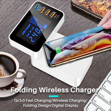 Winhow Foldable QC3.0 Quick Charge Wireless Type C Multi Functional Smart USB Mobile Phone Charger for iphone ipad Xiaomi Huawei