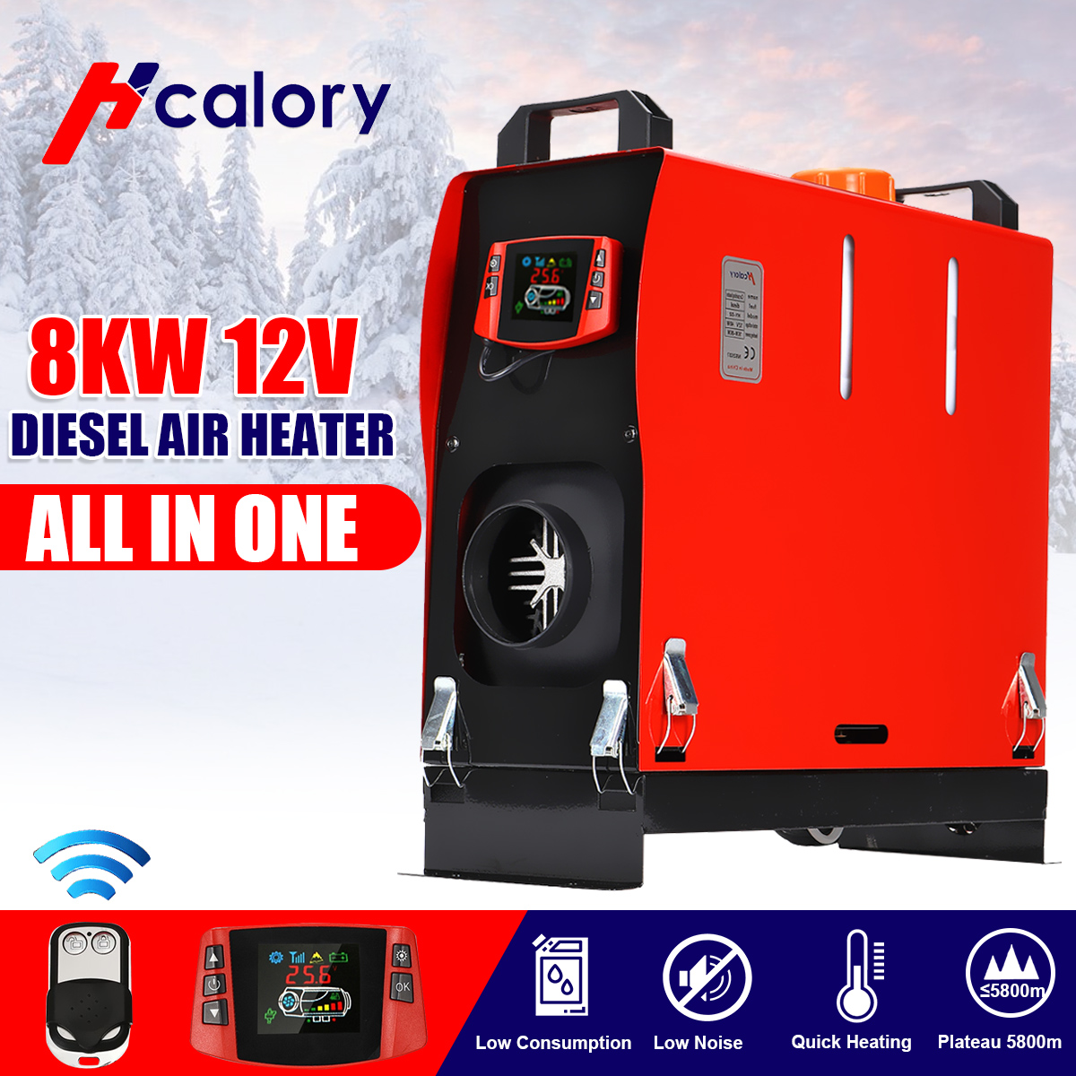 All In One 8KW 12V Car Heater Diesels Air Heater Single Hole New Diamond LCD Monitor Parking Warmer For Car Truck Bus Boat RV