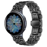 Ремешок для Galaxy Watch Active 2, 40 мм, 44 мм, 20 мм, Цельный металлический браслет на запястье из нержавеющей стали для samsung watch active2, ремешок