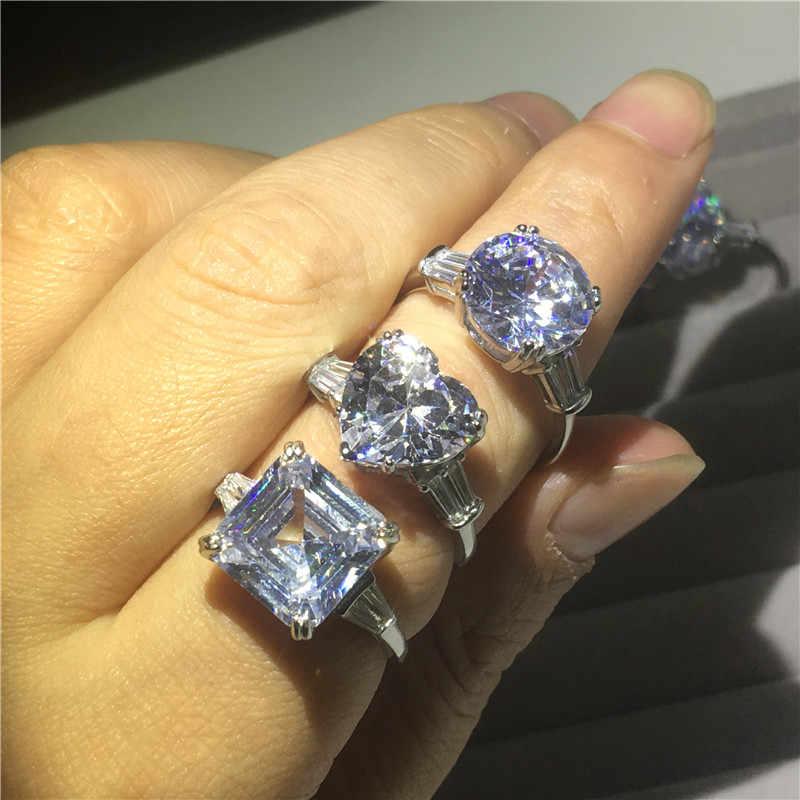 Choucong PROMISE แหวนตัดต่างๆ AAAAA CZ 925 เงินสเตอร์ลิงแหวนหมั้นแหวนผู้หญิงผู้ชายเครื่องประดับ