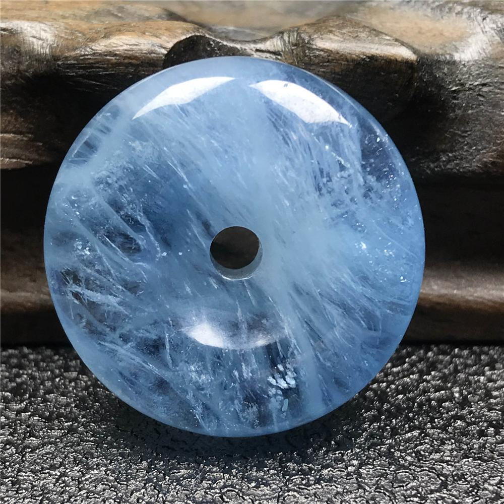 Top Natural Blue Aquamarine Peace Buckle Pendant For Woman Lady Gemstone Fashion 27x10mm Round Beads Healing Stone Jewelry AAAAA