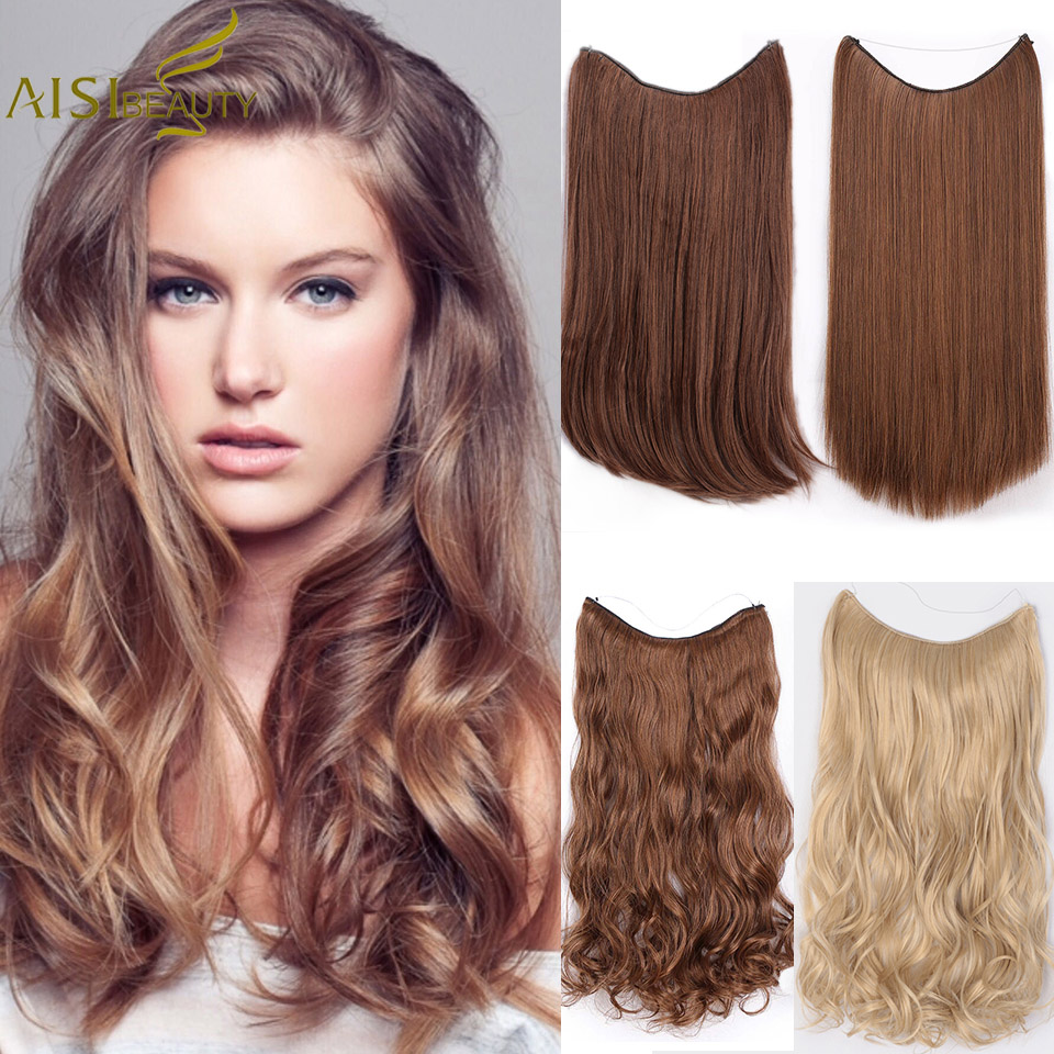 AISI BEAUTY Straight Fish Line Hairpieces No Clips in One Piece Hair Extensions Hair title=