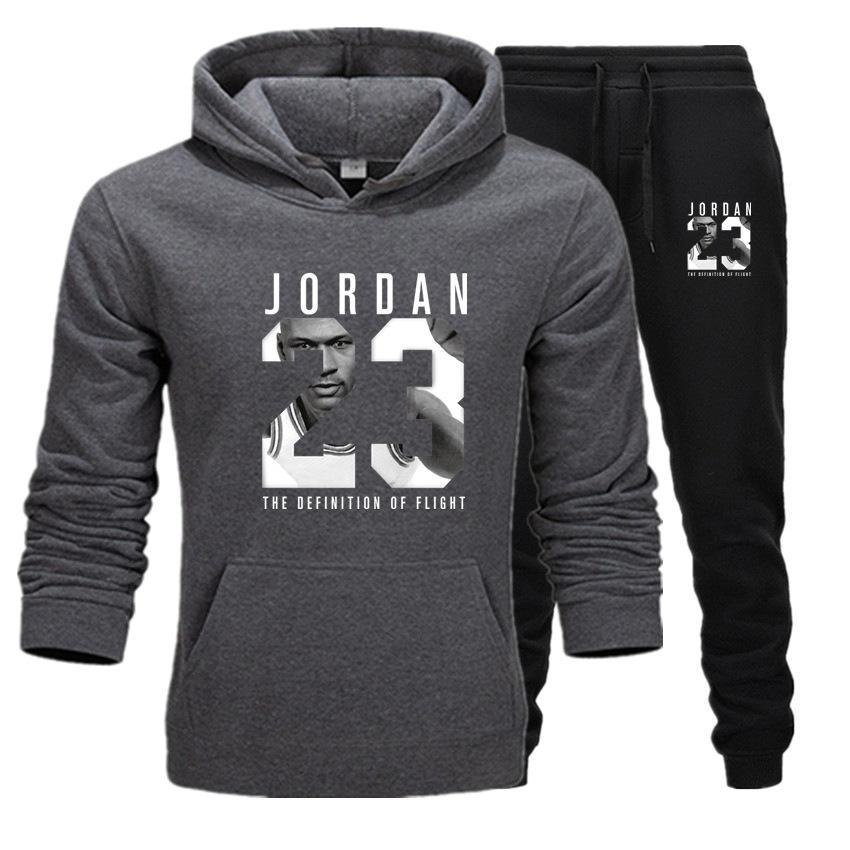 2019 Brand Tracksuit Fashion JORDAN 23 Print Men Sportswear Pullover Two Sets Leisure Fleece hoodies +Pants Sporting Suit Male  (7)