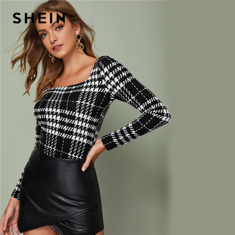 SHEIN Black and White Square Neck Fitted Plaid Top Women Elegant Tees Autumn Long Sleeve Office Ladies Slim Fit Skinny T-shirts 2