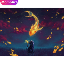 MomoArt Diamond Painting Fantasy Mosaic Cat Embroidery Full Square/round Cross Stitch Home Decoration