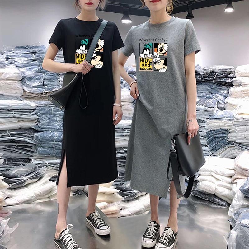 Summer Cartoon Print Women Dress Short Sleeve O-Neck Medium Long Mickey Mouse Dresses Casual Clothes 2019 Vestidos