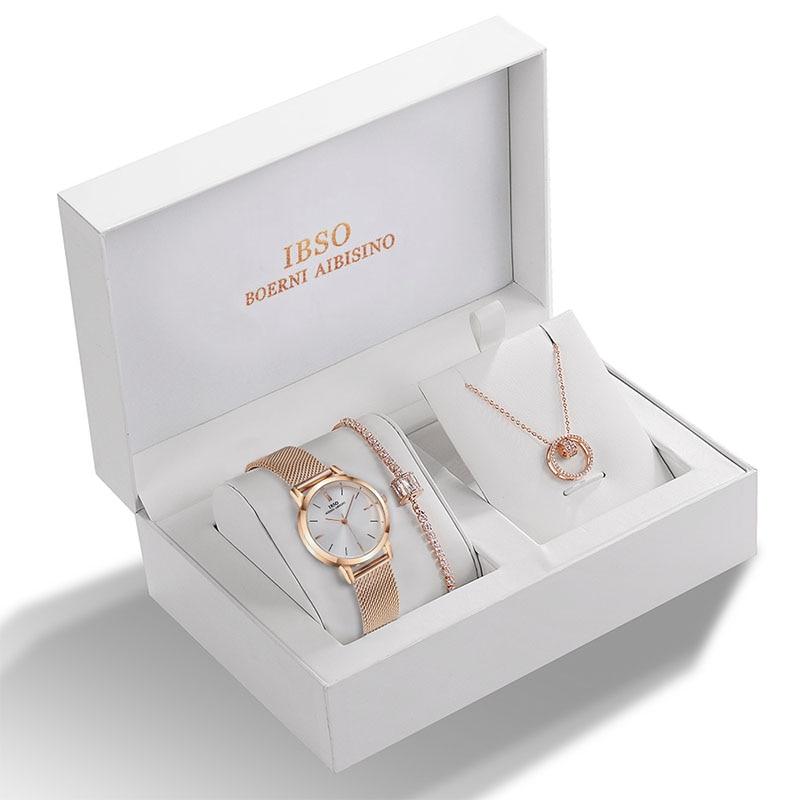 IBSO Women Quartz Watch Set Crystal Design Bracelet Necklace Watch Sets Female Jewelry Set Fashion Silver Set Watch Lady's Gift 2