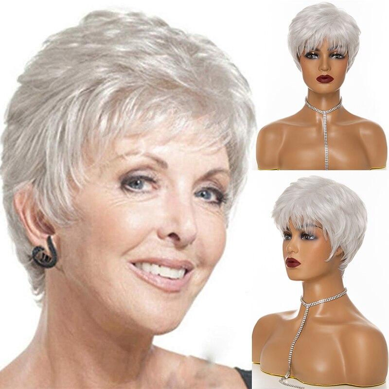 XISHIXIU-Peluca de pelo para mujer, pelo corto sintético en capas, rizado, con flequillo inflado, pelo ondulado corto, gris, blanco, degradado