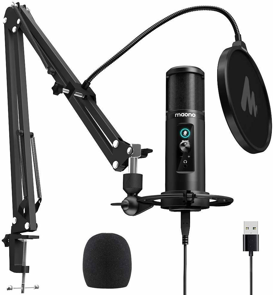 100% MAONO PM422 USB Microphone Zero Latency Monitoring 192KHZ/24BIT Professional Cardioid Condenser Mic With Touch Mute Button