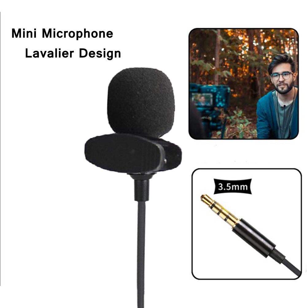 Mini Lavalier Microphone 3.5mm Hands Free Clip On Microphones Mic For IOS Android Mobile Phone Laptop Tablet Recording Pen Guide