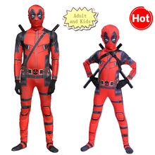 High Quality Adult and Kids Deadpool 2 Costume Adult Superhero Spandex Suit Party Halloween Cosplay Costume With Swords Gloves(China)