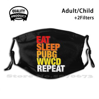 Eat , Sleep , Pubg , Wwcd , Repeat Reusable Mouth Mask Washable Filter Anti Dust Face Masks Pubg Playerunknowns Battlegrounds image