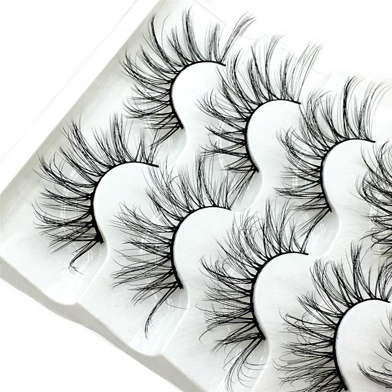 NEW 5 pairs Mink Eyelashes 3D False lashes Thick Crisscross Makeup Eyelash Extension Natural Volume Soft Fake Eye Lashes 5