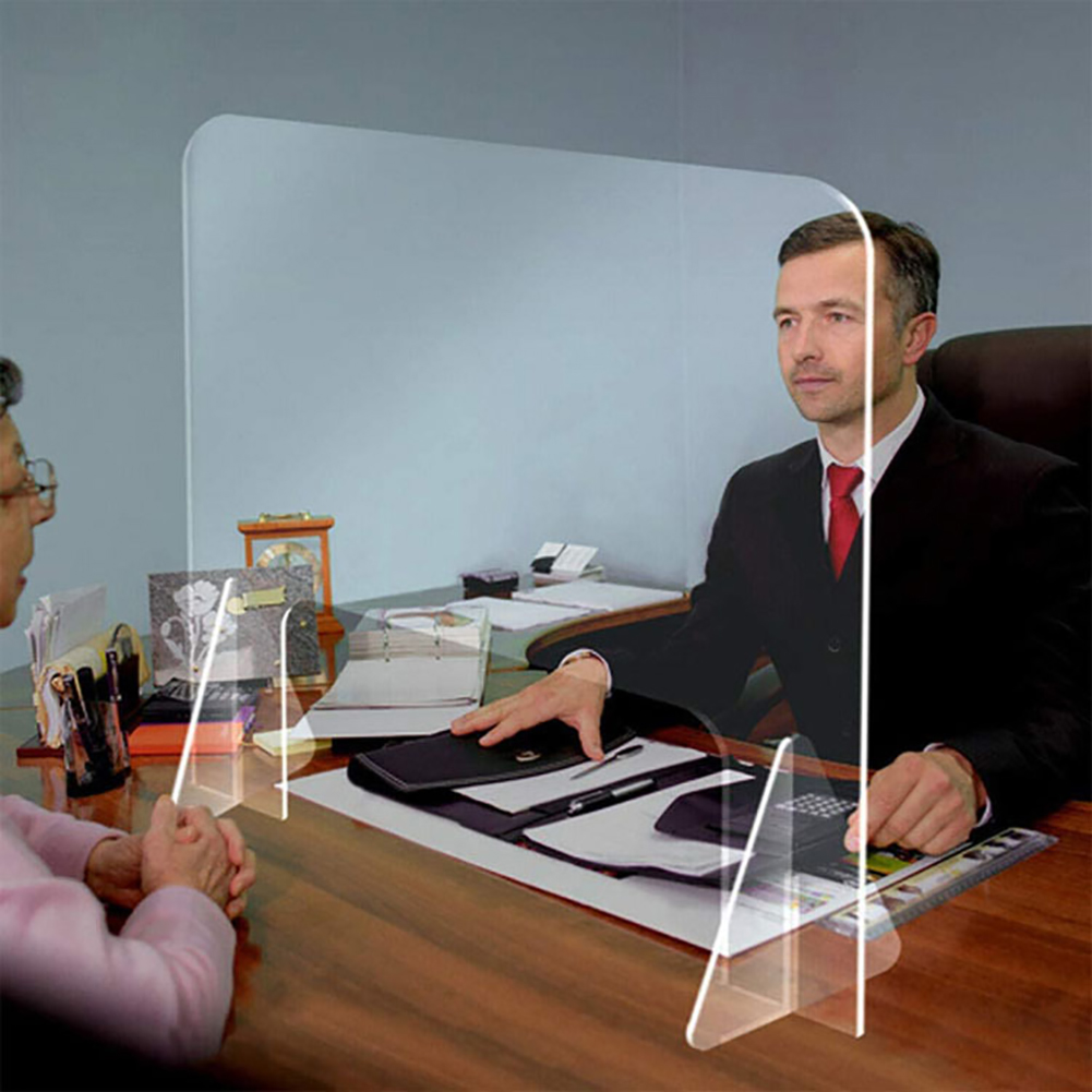 Protective Sneeze Guard For Counter Desktop Freestanding Transparent Acrylic Shield For Office Security