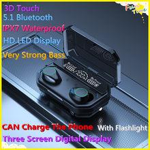 Fones de ouvido Com HD LED de Tela de Exibição Hаушники IPX7 3D Toque À Prova D' Água Bluetooth 5.1 Fones de Ouvido Fones de ouvido de Tamanho Pequeno