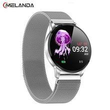 Las mujeres del deporte reloj LED impermeable reloj inteligente de presión arterial podómetro reloj para Android iOS