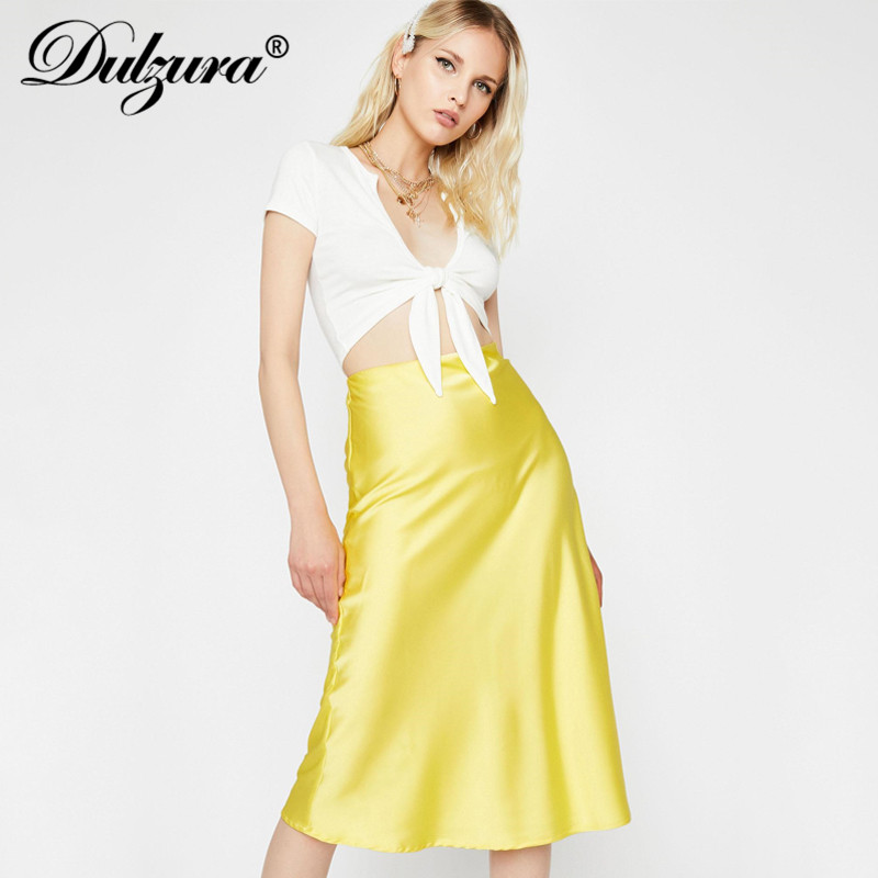 Dulzura Satin Silk Midi Skirt High Waist Solid Streetwear 2019 Autumn Winter Clothes Casual Vacation Holiday Beach