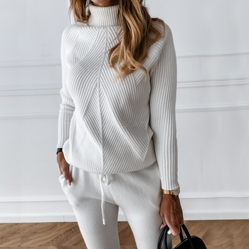 Autumn Winter Women's tracksuit Solid Color Striped Turtleneck Sweater and Elastic Trousers Suits Knitted Two Piece Set image