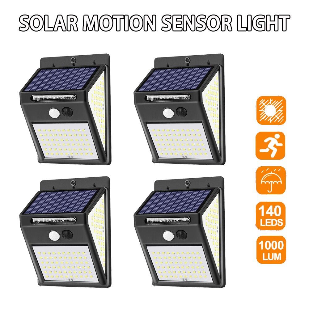 Junejour 140LED Solar Light Outdoor Solar Lamp Powered Sunlight Waterproof PIR Motion Sensor Street Light For Garden Decoration