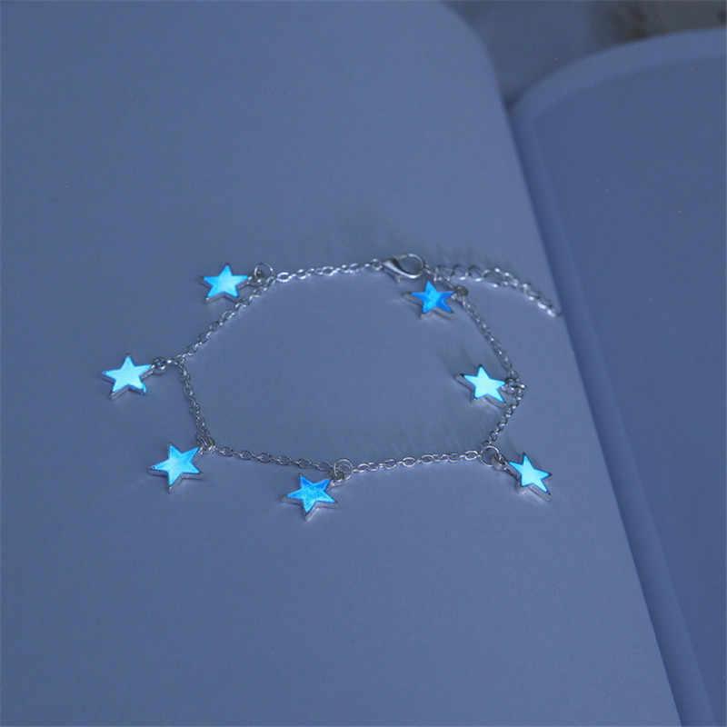 ヨーロッパとアメリカのビーチ風ブルー五角形スターの房足首チェーン発光スター足首ブレスレット飾り