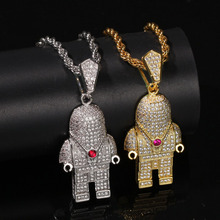 Hip Hop Jewelry Zircon Astronaut Iced Out Cool Mens Pendant Necklace Gold Chain For Men Fashion