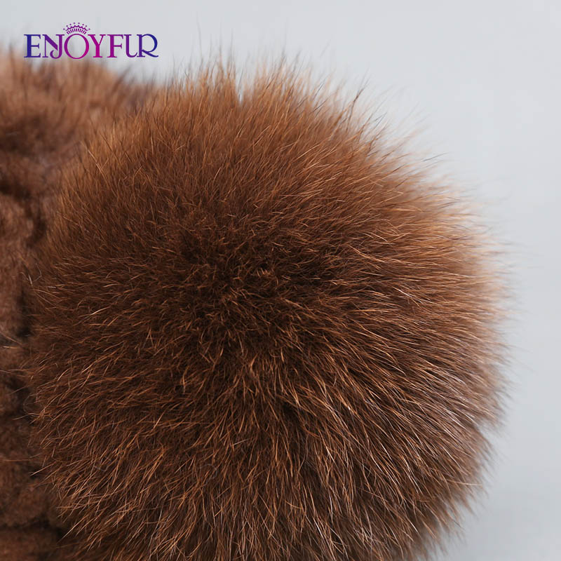 Image 5 - ENJOYFUR hot sale real mink fur hat for women winter knitted mink fur beanies cap with fox fur pom poms new thick  female cap-in Women's Skullies & Beanies from Apparel Accessories