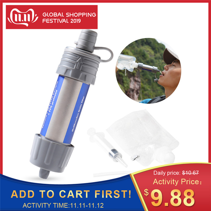 Outdoor EDC Survival Water Filter Straws Camping Equipment Water Purifier Water Filtration System Emergency Hiking Accessories