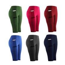 Shorts d'entraînement taille haute pour femmes, leggings de Yoga, de course à pied, de Sport, de Fitness, de poche, de Jogging, coutures serrées