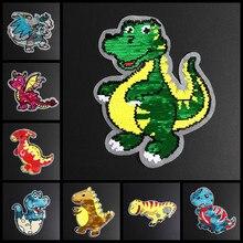 Desenhos animados dinossauro lantejoulas reversas costurar em remendos para roupas casaco camisola bordado mudança cor remendo reversível apliques