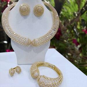 Image 3 - Godki Luxe Party Snake 4 Pcs Nigeriaanse Sieraden Set Voor Vrouwen Bruiloft Zirkoon Indian Afrikaanse Bruids Sieraden Set 2018